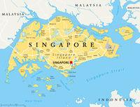 Singapur politische Landkarte