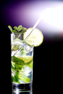 mojito isolated on black close up