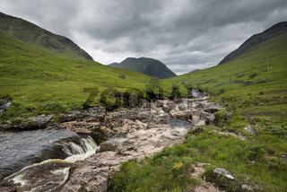 Der River Etive im Glen Etive im Glen Coe in den schottischen Highlands