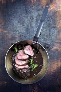 Roast Boar Neck in Frying Pan