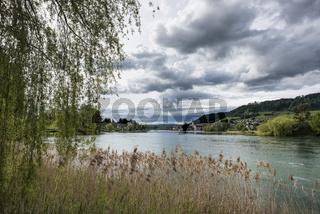 Blick von Eschenz über den Rhein nach Stein am Rhein