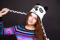 brunette girl in hat panda