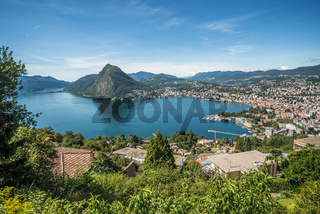 Panoramic view of Lugano, Ticino canton, Switzerland