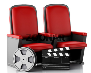 3d Film reel and Cinema clapper board on theater seat.