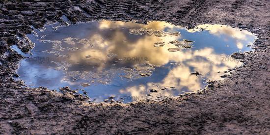 Wolken spiegeln sich Pfütze