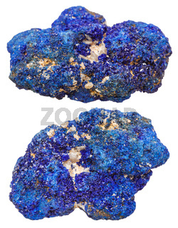 two azurite mineral gem stones isolated