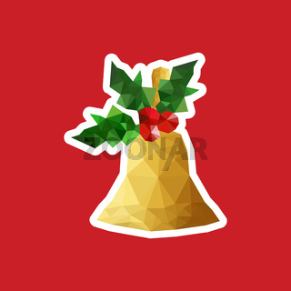 Christmas illustration with origami bell