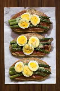 Baked Ham Asparagus Egg and Cheese Sandwich