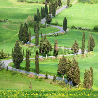 Beautiful landscape in Tuscany with sinuous road