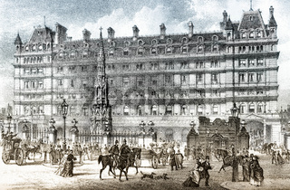 The front entrance of Charing Cross railway station in 19th-century, London, England