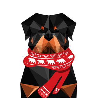 Illustration of origami rottweiler dog with christmas scarf