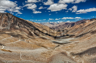 Karakoram Range and road in valley, Ladakh, India