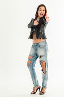 Top view of young attractive woman in jeans