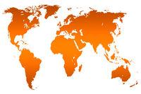 orange gradient world map, isolated