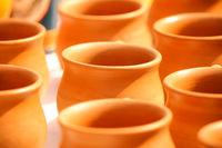 Kulhar - Brown Earthen cups in a row