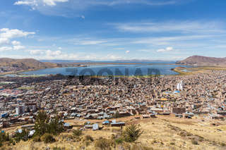 Aerial Panorama of Puno and Lake Titicaca from Mirador El Condor