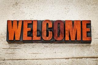 welcome word in letterpress wood type