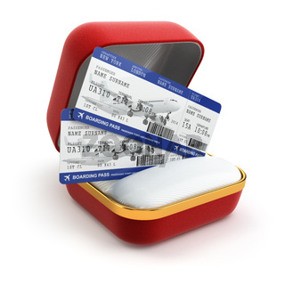 Boarding pass air tocket in gift box.