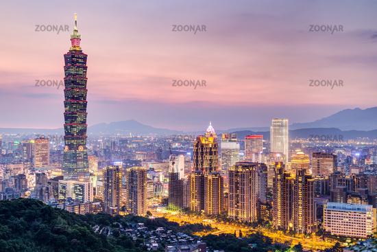 Taipei 101 or Taipei WTC tower in Taipei, Taiwan at sunset
