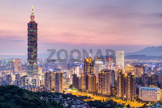Taipei 101 or Taipei WTC tower in Taipei, Taiwan at sunset