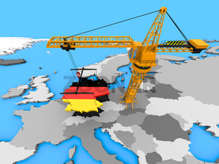 Flag of Germany in the shape of the country hanging on a crane over Europe