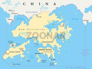 Hongkong und Umgebung politische Landkarte