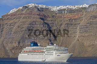 Cruise Ship Moored At Thera Santorini Greece