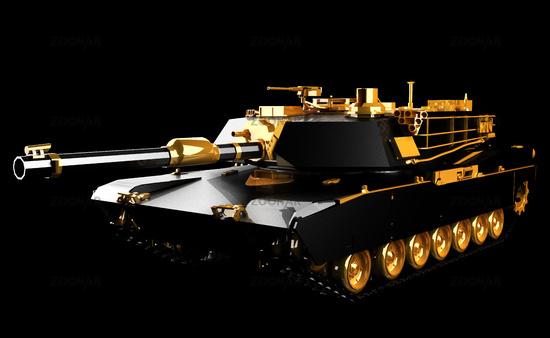futuristic tank in the dark studio