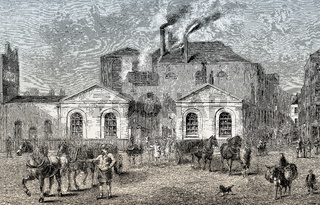 Meux's Horse Shoe brewery, Tottenham Court Road in 1830, London, England
