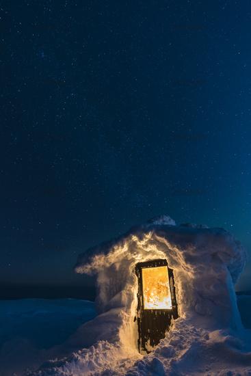 verschneite Huette, Dundret Naturreservat, Lappland