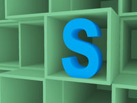 3d open boxes with Letter S