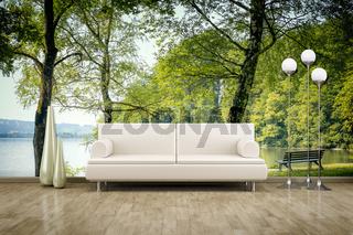 photo wall mural sofa floor