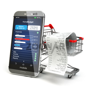Mobile home budget application concept. Smartphone with shopping cart.