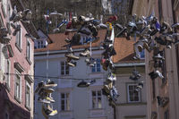 shoes hanging on wire