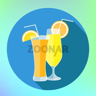 Orange and lemon juice flat