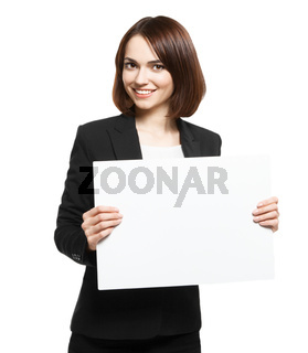 Business Woman Holding Blank Placard