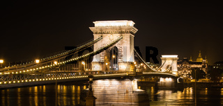 Illuminated Chain Bridge of Budapest at nighttime