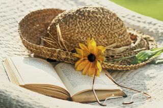 Close up of straw hat, sunglasses and book on a hammock