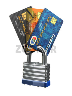 Credit card data security concept. Cards and lock isolated on white