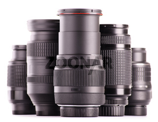 Composition with photo zoom lenses isolated on white background
