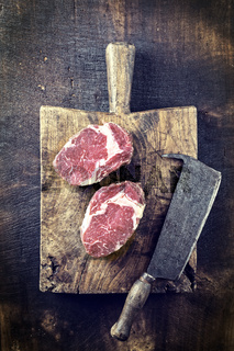 Dry aged Entrecote on old Cutting Board