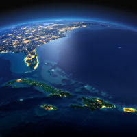 Detailed Earth. Caribbean islands. Cuba, Haiti, Jamaical on a moonlit night