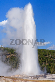 Old Faithful Geyser and Fountain at Yellowstone National Park Wyoming USA