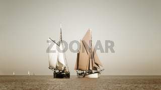 Sepia toned traditional ships