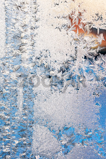 winter frost pattern on window glass
