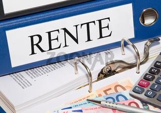 Rente - Ordner mit Geld