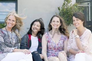 Happy group of female friends having fun