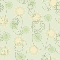 Seamless  with green flowers