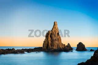 Rock in Mediterranean sea near Cabo de Gata, Spain