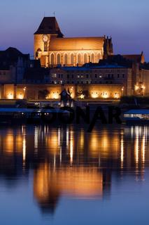 Torun Cathedral with Reflection on Vistula River
